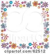 White Background Bordered In Colorful Flowers Version 2