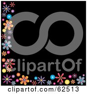 Black Background Bordered In Colorful Flowers