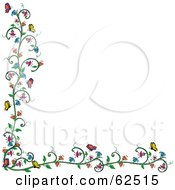 Royalty Free RF Clipart Illustration Of A Flowering Vine And Butterfly Border Over White by Pams Clipart