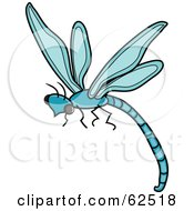 Royalty Free RF Clipart Illustration Of A Flying Blue Dragonfly Version 1 by Pams Clipart