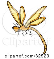 Royalty Free RF Clipart Illustration Of A Flying Orange Dragonfly by Pams Clipart