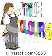 Female Painter Painting True Colours On A Wall Clipart Picture