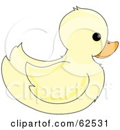 Royalty Free RF Clipart Illustration Of A Cute Pale Yellow Ducky In Profile