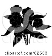 Royalty Free RF Clipart Illustration Of A Bouquet Of Black Silhouette Phlox Flowers
