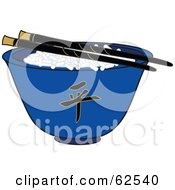 Royalty Free RF Clipart Illustration Of A Pair Of Chopsticks Over Rice In A Blue Chinese Bowl