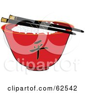 Royalty Free RF Clipart Illustration Of A Pair Of Chopsticks Over Rice In A Red Chinese Bowl
