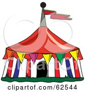 Royalty Free RF Clipart Illustration Of Colorful Flags Around A Big Top Circus Tent by Pams Clipart