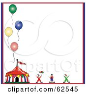 Royalty Free RF Clipart Illustration Of A Circus Clown And Tent With Balloons On A White Background by Pams Clipart