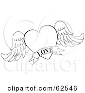 Royalty Free RF Clipart Illustration Of A Black And White Winged Heart With A Love Banner by Pams Clipart