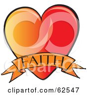 Royalty Free RF Clipart Illustration Of A Red And Orange Heart With A Faith Banner by Pams Clipart