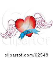 Royalty Free RF Clipart Illustration Of A Red Winged Heart With A Blue Love Banner by Pams Clipart