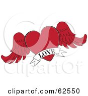 Royalty Free RF Clipart Illustration Of A Red Winged Heart With A White Love Banner by Pams Clipart
