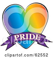 Royalty Free RF Clipart Illustration Of A Rainbow Gay Heart With A Pride Banner by Pams Clipart