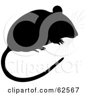 Royalty Free RF Clipart Illustration Of A Cute Black Mouse With A Long Tail And Whiskers by Pams Clipart