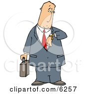 Businessman Checking Time On His Wristwatch Royalty Free Clipart Illustration