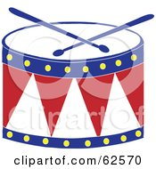 Royalty Free RF Clipart Illustration Of A Red White And Blue Drum And Drumsticks by Pams Clipart