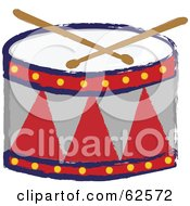 Royalty Free RF Clipart Illustration Of A Red And Gray Drum And Drumsticks by Pams Clipart