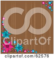Royalty Free RF Clipart Illustration Of A Brown Background With Lines Bubbles And Pink And Blue Flowers
