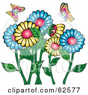 Royalty Free RF Clipart Illustration Of Colorful Spring Butterflies Over A Daisy Flower Garden by Pams Clipart