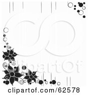 White Background With Black Flower Corners And Lines