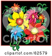 Royalty Free RF Clipart Illustration Of A Group Of Colorful Flowers In A Black Square by Pams Clipart
