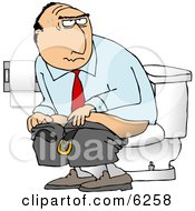 Businessman Going Poop In A Public Toilet
