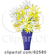 Royalty Free RF Clipart Illustration Of A Blue Vase Of White And Yellow Daisy Flowers by Pams Clipart