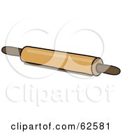 Royalty Free RF Clipart Illustration Of A Wood Kitchen Rolling Pin