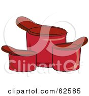 Royalty Free RF Clipart Illustration Of Three Red Kitchen Measuring Cups