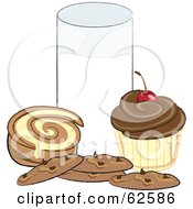 Royalty Free RF Clipart Illustration Of A Cupcake Chocolate Chip Cookies And A Cinnamon Roll By A Glass Of Milk by Pams Clipart