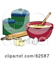 Royalty Free RF Clipart Illustration Of A Bowl Of Dough With Cooking Items And Sugar And Flour Canisters