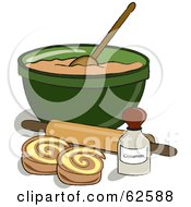 Royalty Free RF Clipart Illustration Of Cinnamon Rolls By A Bowl Of Dough