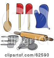 Royalty Free RF Clipart Illustration Of A Digital Collage Of Kitchen Spoons Spatulas Mits Measuring Tools And A Rolling Pin