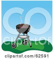 Royalty Free RF Clipart Illustration Of Hamburgers Cooking On A Charcoal Grill