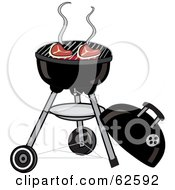Royalty Free RF Clipart Illustration Of Steaks Cooking On A Charcoal Grill