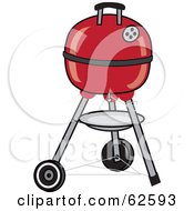 Royalty Free RF Clipart Illustration Of A Closed Red Portable Black BBQ by Pams Clipart
