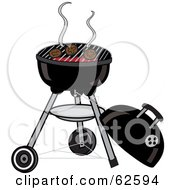 Royalty Free RF Clipart Illustration Of Hamburger Patties Cooking On A Charcoal Grill by Pams Clipart
