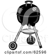 Royalty Free RF Clipart Illustration Of A Closed Black Portable Black BBQ by Pams Clipart