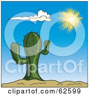 Royalty Free RF Clipart Illustration Of A Bright Sun Shining Down On A Green Cactus Against A Blue Sky by Pams Clipart