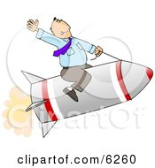 Businessman Flying On A Rocket Royalty Free Concept Clipart Illustration