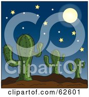 Royalty Free RF Clipart Illustration Of A Full Moon And Stars Over A Cactus Desert by Pams Clipart