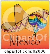 Royalty Free RF Clipart Illustration Of A Sombrero With Rainbow Colored Maracas On An Orange Mexico Background