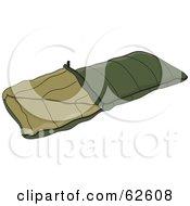 Royalty Free RF Clipart Illustration Of A Green Camping Sleeping Bag