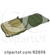 Royalty Free RF Clipart Illustration Of An Olive Green Camping Sleeping Bag