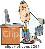 Tired Businessman Sitting At Computer Desk Royalty Free Clipart Illustration