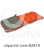 Royalty Free RF Clipart Illustration Of An Orange Camping Sleeping Bag