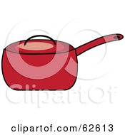 Royalty Free RF Clipart Illustration Of A Red Covered Kitchen Pot