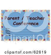 Blue ParentTeacher Conference Card With Lines For Scheduling