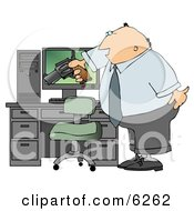 Angry Businessman Pointing A Gun At His Computer Tower Royalty Free Clipart Illustration by djart