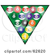 Royalty Free RF Clipart Illustration Of Racked Pool Balls Over Green by Pams Clipart